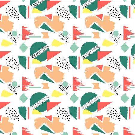 Geometric and random shapes combined into a modern seamless pattern Çizim