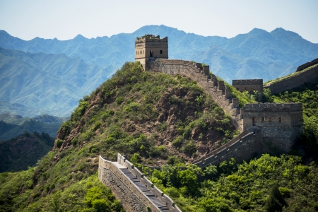the world cultural heritage: Great Wall of China in Summer with beautiful sky