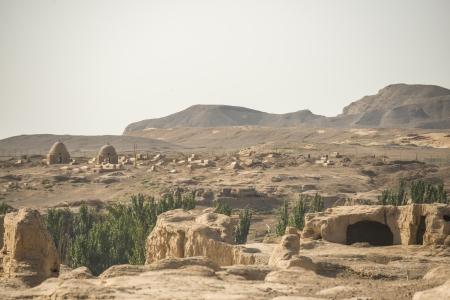 Die Ruinen von Jiaohe liegt in der Nähe der Stadt Turpan, Xinjiang, China Es ist eine bekannte alte Stadt mit einer Geschichte mehr als 2000 Jahre an der Seidenstraße Standard-Bild