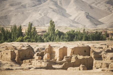 Die Ruinen von Jiaohe liegt in der Nähe der Stadt Turpan, Xinjiang, China Es ist eine bekannte alte Stadt mit einer Geschichte mehr als 2.000 Jahren entlang der Seidenstraße Standard-Bild