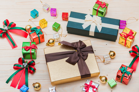 gift bow: Christmas gift boxes with decorations Stock Photo