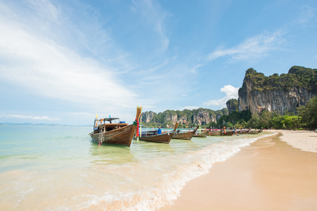 aonang: Railay beach in Krabi Thailand Stock Photo