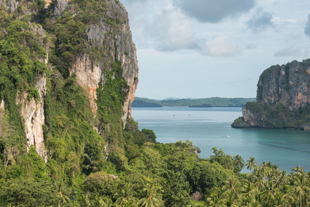 aonang: Aerial panoramic view from cliff on railay beach krabi thailand Stock Photo