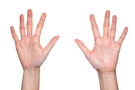 10 fingers: Woman hand making sign  number 10. Isolated on white background Stock Photo