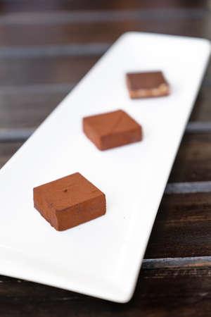 chocolate melt: chocolate melt on white dish