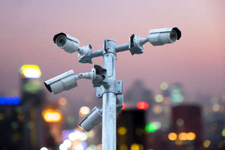 close circuit camera: Tough cameras can record events such as traffic, accidents. And also prevent the thie Abstract bokeh Bangkok city night light