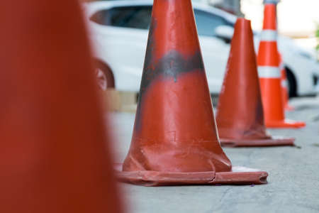 traffic   cones: Row of traffic cones in car park Stock Photo