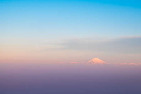 ble: Mountain Fuji birds eye view,  Shizuoka, Japan. Stock Photo