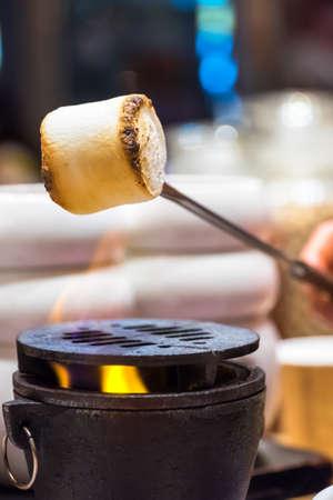 roasting: Roasting marshmallows over fireplace