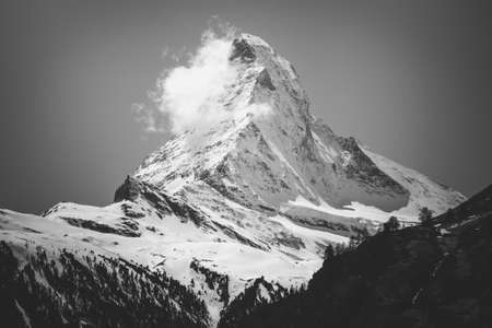 Art photo Scenic view on snowy Matterhorn peak in black and white Stock Photo