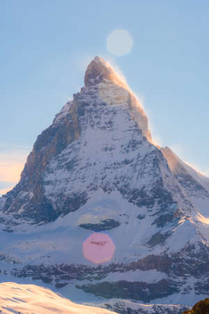 Matterhorn peak with flare Stock Photo
