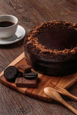 Heerlijke veganistische chocoladetaart Stockfoto