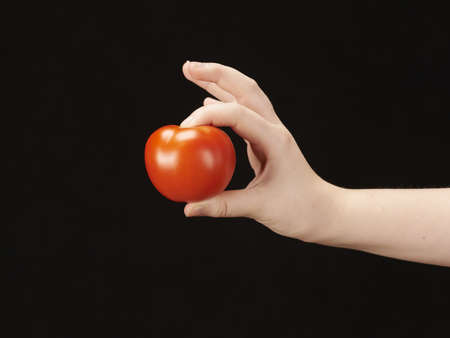 Childs hand with tomatoe