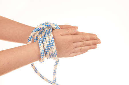Hands tied with rope isolated on white background Stock Photo - 15196388