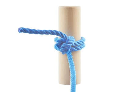 Two Half Hitches Knot  isolated on white background Stock Photo