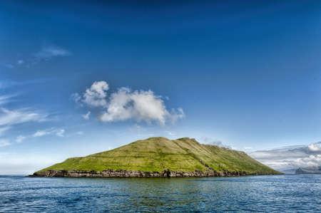 Hestur island in the Faroe Islands on a summer day