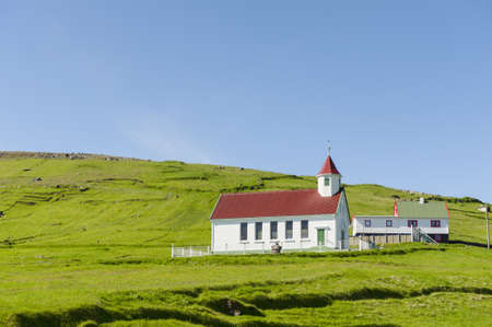 Village church in the island Skuvoy Stock Photo