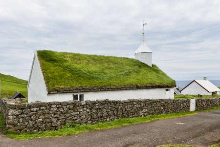 Small village church in Mykines in the Faroe Islands