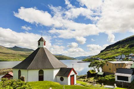 Small village church in Haldorsvik in the Faroe Islands