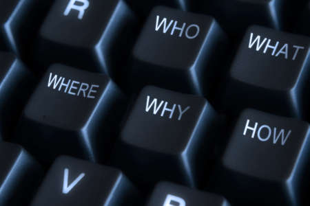 how: Close up of black keyboard with who, what, where, why, how labels Stock Photo