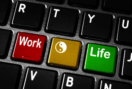 work life balance: Work life balance concept on laptop keyboard