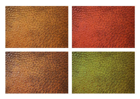 Leather grain swatches in red, brown, green, yellow isolated on white. Stock Photo
