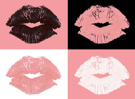 Set of graphic lipstick kiss stamps in different colors isolated on blank background  Stock Photo