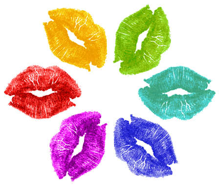 Set of six lipstick kisses in red, yellow, green, cyan, blue, purple in flower formation pattern isolated on white background  Stock Photo
