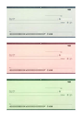 Set of three blank personal bank checks in blue, red, green with identifiable information removed isolated on white background  photo
