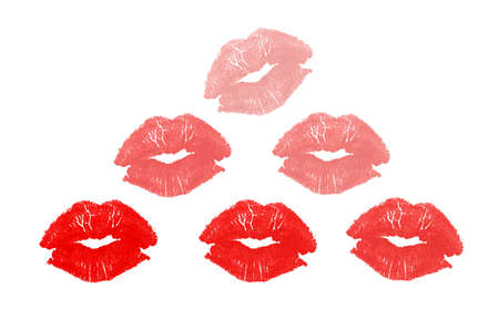 Set of six graphic colored kisses in triangle layout isolated on white background with copy space  Stock Photo