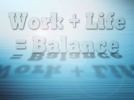 Work Life Balance concept on blue abstract glowing background with drop shadow and copy space  Stock Photo