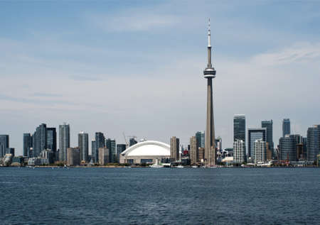 City skyline of Toronto, Canada from lake Ontario.