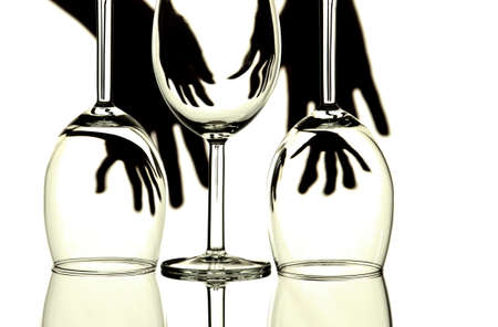 back lighting: Abstract creative design with back lit wine glasses and hands on white background