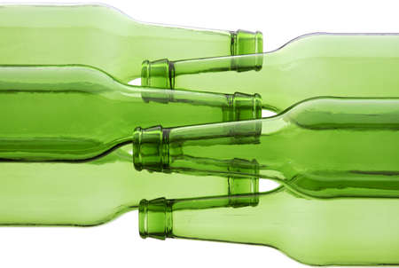 back lighting: Bunch of empty glass beer bottles with back lighting. Stock Photo