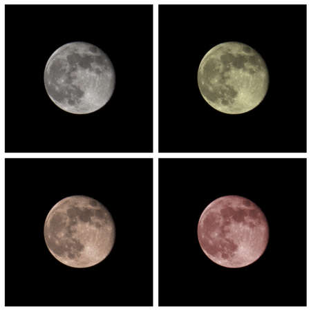 Collage of four moons in different colors including white, yellow, orange and red.