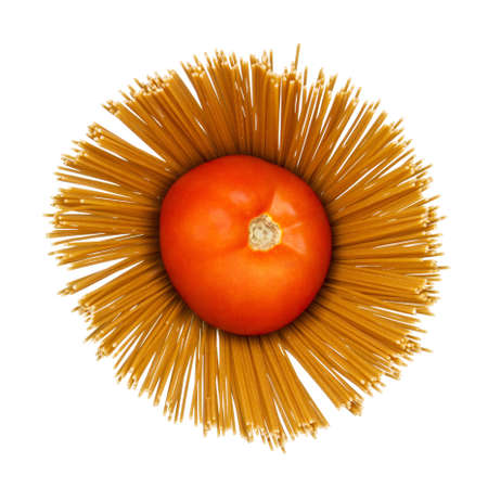 Abstract composition of tomato on dry angel hair spaghetti pasta on white background. Stock Photo - 16321468