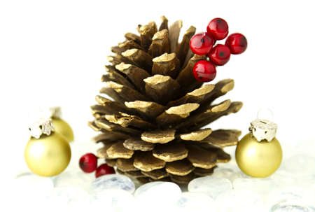 Beautiful seasonal Christmas holiday theme with pine cones and colorful ornaments