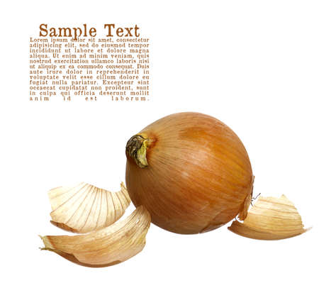 Golden onion with loose skins isolated on white with copy space.