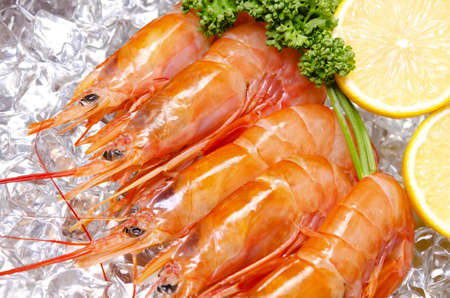 seafood: argentine red shrimp Stock Photo