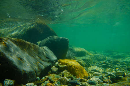 Underwater photography series Obonaigawa River. This image was taken by underwater SLR.