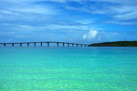 Kurima Big Bridge from Maehama Beach  This image was taken in Okinawa Prefecture, Japan Stock Photo
