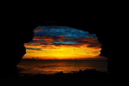 Sunset in SUNAYAMA Beach, Okinawa Prefecture Japan