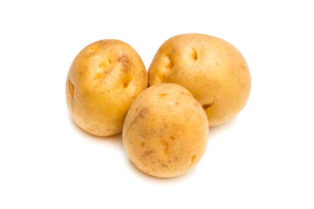 pomme de terre: Potato-Solanum tuberosum, on white background. Stock Photo