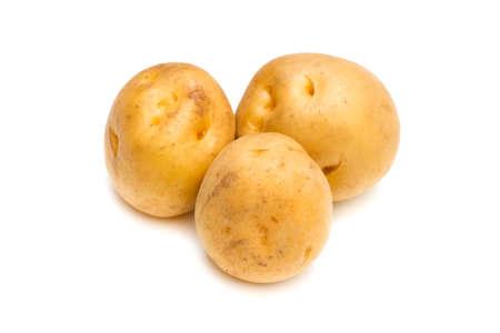 pomme de terre: Potato-Solanum tuberosum, on white background. Stock Photo