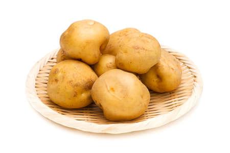 tuberosum: Potato-Solanum tuberosum, on white background. Stock Photo
