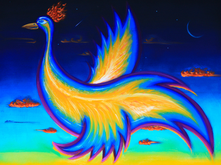 mythical phoenix bird: Original Art Illustration, acrylic painting of phoenix bird, flying in the night sky. Horizontal image