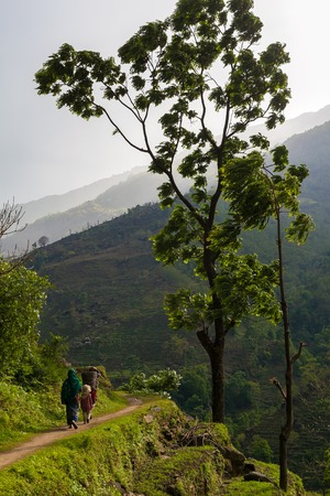 end of the trail: Nepalese Family Hiking Mountain Trail Village Sunset.Young Group People Climbing Track Traveler Beautiful End Noth Asia.Summer Landscape Background.Vertical Photo