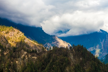 Landscapes Mountains Nature Morning Viewpoint.Mountain Trekking Landscape Background. Nobody photo. Horizontal picture. Sunlights White Clouds Blue Sky