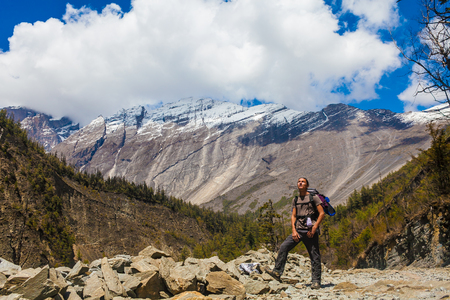 Landscape Himalaya Mountain Background.Hiking Himalayas Beautiful View Panorama.End Summer Season Background.Green Threes Cloudy Blue Sky Mountainous Rocks.Man Travelers Backpacker Image.Horizontal