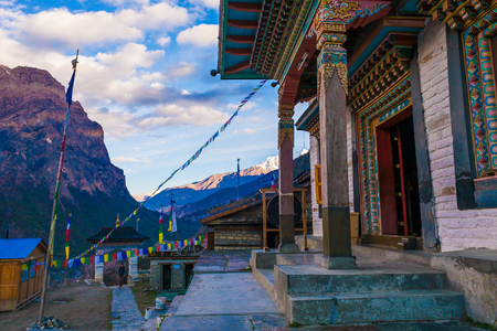 Tibetan Prayer Monastery Buddhists Village.Himalaya Mountains. Horizontal Photo. Nobody Image. Hikking Sport Activity